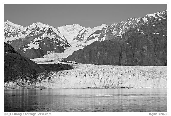 Margerie Glacier flowing from Mount Fairweather into Tarr Inlet. Glacier Bay National Park (black and white)