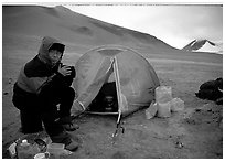 Camping on the bare terrain of the Valley of Ten Thousand smokes. Katmai National Park, Alaska (black and white)