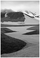 Snow is still present in early summer, Valley of Ten Thousand smokes. Katmai National Park, Alaska, USA. (black and white)