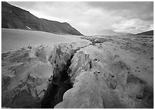 Gorge carved by Lethe River ash floor of Valley of Ten Thousand smokes. Katmai National Park ( black and white)