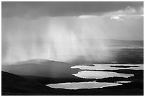 Rain showers above lakes. Katmai National Park ( black and white)