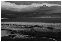 Brooks River and mountains, evening. Katmai National Park ( black and white)
