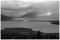 Naknek Lake with rainbowed shaft of light. Katmai National Park ( black and white)