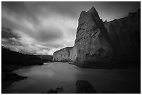 Ash cliffs carved by Ukak River, Valley of Ten Thousand Smokes. Katmai National Park ( black and white)