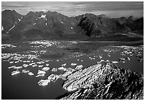 Aerial view of Bear Glacier and lagoon. Kenai Fjords National Park ( black and white)