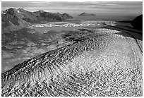 Aerial view of Bear Glacier. Kenai Fjords National Park, Alaska, USA. (black and white)