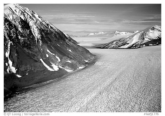 Aerial view of large Alaskan glacier. Kenai Fjords National Park (black and white)