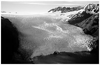 Aerial view of Aialik Glacier front. Kenai Fjords National Park ( black and white)