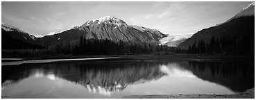 Mountains and glacier reflected in river. Kenai Fjords  National Park (Panoramic black and white)