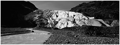 Glacial stream and Exit Glacier. Kenai Fjords  National Park (Panoramic black and white)