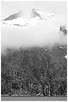 Cloud-covered peak and waterfalls, Northwestern Fjord. Kenai Fjords National Park, Alaska, USA. (black and white)