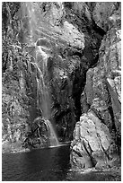 Waterfall, Cataract Cove, Northwestern Fjord. Kenai Fjords National Park, Alaska, USA. (black and white)