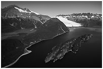 Aerial View of Slate Island and Aialik Bay. Kenai Fjords National Park ( black and white)