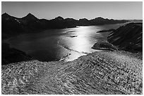 Aerial View of Aialik Glacier flowing into Aialik Bay. Kenai Fjords National Park ( black and white)