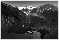 Aerial View of Pedersen Lagoon. Kenai Fjords National Park ( black and white)