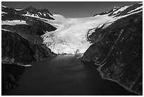 Aerial View of Holgate Glacier front. Kenai Fjords National Park ( black and white)