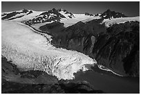 Aerial View of Holgate Glacier. Kenai Fjords National Park ( black and white)