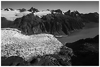 Aerial View of Holgate Glacier flowing into Holgate Arm. Kenai Fjords National Park ( black and white)