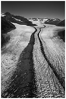 Aerial view of Bear Glacier with crevasses and lateral moraines. Kenai Fjords National Park ( black and white)