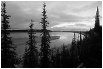Bend of Kobuk River, dusk. Kobuk Valley National Park, Alaska, USA. (black and white)