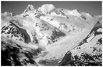Aerial view of snowy mountains near Lake Clark Pass. Lake Clark National Park, Alaska, USA. (black and white)