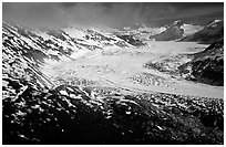 Aerial view of wide glacier near Lake Clark Pass. Lake Clark National Park, Alaska, USA. (black and white)