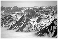 Aerial view of Chigmit Mountains. Lake Clark National Park, Alaska, USA. (black and white)