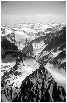 Aerial view of rugged peaks, Chigmit Mountains. Lake Clark National Park, Alaska, USA. (black and white)
