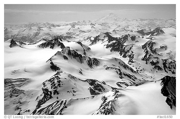 Aerial view of snowy peaks, Chigmit Mountains. Lake Clark National Park, Alaska, USA.