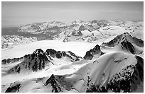 Aerial view of icefields and peaks, Chigmit Mountains. Lake Clark National Park, Alaska, USA. (black and white)