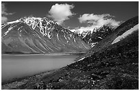 Turquoise waters of Turquoise Lake and Telaquana Mountain. Lake Clark National Park, Alaska, USA. (black and white)