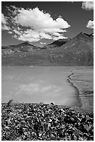 East end of Turquoise Lake. Lake Clark National Park, Alaska, USA. (black and white)