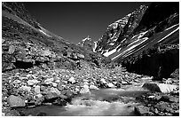 Creek below Telaquana mountains. Lake Clark National Park, Alaska, USA. (black and white)