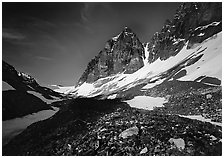 Moraine, neves, and rocky peaks, Telaquana Mountains. Lake Clark National Park, Alaska, USA. (black and white)