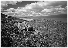 Boulder field and Turquoise Lake. Lake Clark National Park, Alaska, USA. (black and white)