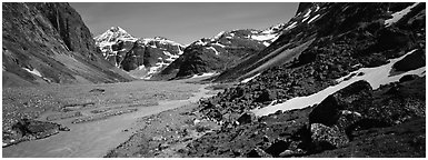 Wild river valley. Lake Clark National Park (Panoramic black and white)