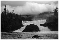 Tanalian Falls and cloud. Lake Clark National Park ( black and white)