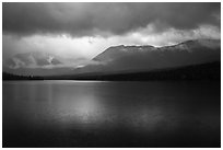 Rain and clearing, Kontrashibuna Lake. Lake Clark National Park ( black and white)