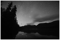 Starry sky above Kontrashibuna Lake. Lake Clark National Park ( black and white)