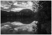 Kontrashibuna Lake (Qenlghishi Vena) in the fall. Lake Clark National Park ( black and white)