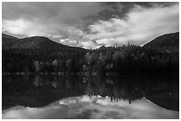 Kontrashibuna Lake reflections. Lake Clark National Park ( black and white)