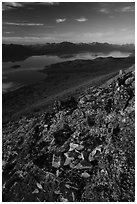 Lake Clark from Tanalian Mountain, late afternoon. Lake Clark National Park ( black and white)