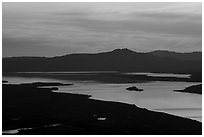 Lake Clark from Tanalian Mountain, at sunset. Lake Clark National Park ( black and white)