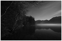 Kontrashibuna Lake (Qenlghishi Vena) at night. Lake Clark National Park ( black and white)