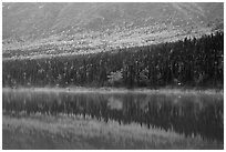 Reflections in turquoise waters, Kontrashibuna Lake. Lake Clark National Park ( black and white)