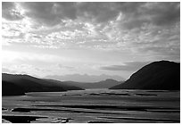Wide valley with Copper river in the foregroud, Chitina river in the far. Wrangell-St Elias National Park, Alaska, USA. (black and white)
