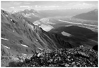 Mountain landscape with glacier seen from above. Wrangell-St Elias National Park, Alaska, USA. (black and white)