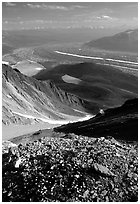 Junction of Kennicott and Root glaciers seen from Mt Donoho, late afternoon. Wrangell-St Elias National Park, Alaska, USA. (black and white)