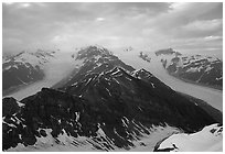 Kennicott and Root glaciers seen from Mt Donoho, evening. Wrangell-St Elias National Park, Alaska, USA. (black and white)