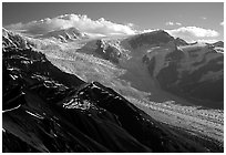 Root glacier seen from Mt Donoho, morning. Wrangell-St Elias National Park, Alaska, USA. (black and white)